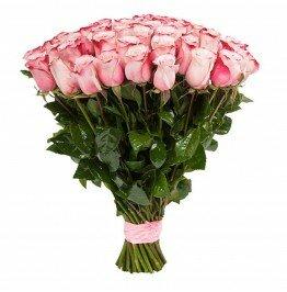 Роза розовая 51 штука
